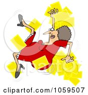 Royalty Free Vector Clip Art Illustration Of A Woman Slipping And Dropping Papers by Dennis Cox