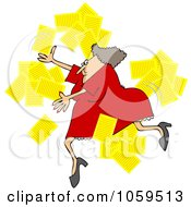 Royalty Free Vector Clip Art Illustration Of A Woman Tripping And Dropping Papers by djart