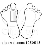 Royalty Free Vector Clip Art Illustration Of A Black And White Outline Of A Toe Tag On A Foot