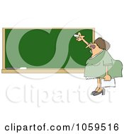 Royalty Free Vector Clip Art Illustration Of A Lady Teacher Writing On A Chalk Board by djart