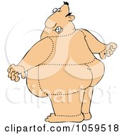 Royalty Free Vector Clip Art Illustration Of A Rear View Of A Quartered Man