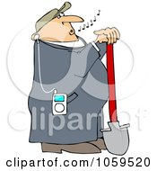 Royalty Free Vector Clip Art Illustration Of A Worker Listening To Music On An Mp3 Player