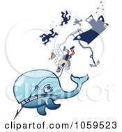 Royalty Free Vector Clip Art Illustration Of An Angry Whale Taking Down A Whaling Ship by Zooco #COLLC1059523-0152
