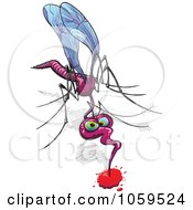 Royalty Free Vector Clip Art Illustration Of A Mosquito Drinking Blood