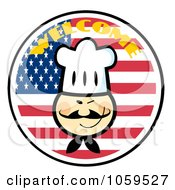 Royalty Free Vector Clip Art Illustration Of An Asian Chef Face Over An American Flag Circle With Welcome Text