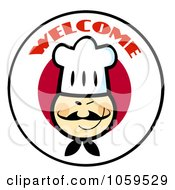 Royalty Free Vector Clip Art Illustration Of An Asian Chef Face Over A Japanese Flag Circle