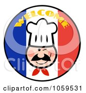 Royalty Free Vector Clip Art Illustration Of A Winking Chef Face On A Welcome French Flag Circle