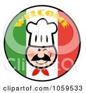 Royalty Free Vector Clip Art Illustration Of A Winking Chef Face Over A Welcome Italian Flag Circle