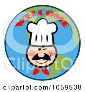 Royalty Free Vector Clip Art Illustration Of A Winking Chef Face Over Earth