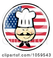Royalty Free Vector Clip Art Illustration Of A Winking Asian Chef Face Over An American Flag Circle