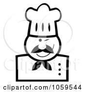 Royalty Free Vector Clip Art Illustration Of A Black And White Winking Chef