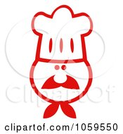 Royalty Free Vector Clip Art Illustration Of A Red And White Chef Face Wearing A Hat