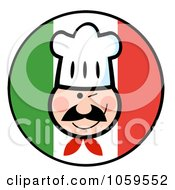 Royalty Free Vector Clip Art Illustration Of A Winking Chef Face Over An Italian Flag Circle