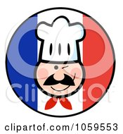 Royalty Free Vector Clip Art Illustration Of A Winking Chef Face On A French Flag Circle