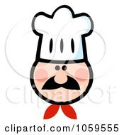 Royalty Free Vector Clip Art Illustration Of A Chef Face Wearing A Hat 1 by Hit Toon
