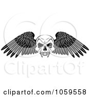 Black And White Winged Skull Tattoo Design