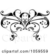 Royalty Free Vector Clip Art Illustration Of A Black And White Swirl Butterfly Tattoo Design
