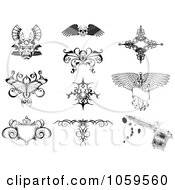 Royalty Free Vector Clip Art Illustration Of A Digital Collage Of Tattoo Designs by AtStockIllustration