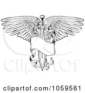 Royalty Free Vector Clip Art Illustration Of A Black And White Winged Sword And Banner Tattoo Design