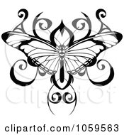 Royalty Free Vector Clip Art Illustration Of A Black And White Butterfly Tattoo Design