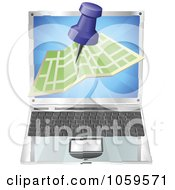 Royalty Free Vector Clip Art Illustration Of A 3d Road Map And Pin Over A Laptop Computer
