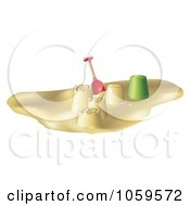 Royalty Free Vector Clip Art Illustration Of A 3d Shovel And Bucket By Sand Castle Towers On A Beach