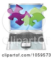 Royalty Free Vector Clip Art Illustration Of 3d Solution Puzzle Pieces Over A Laptop Computer by AtStockIllustration