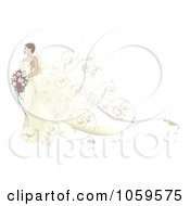 Royalty Free Vector Clip Art Illustration Of A Beautiful Bride Walking With Swirls Behind Her by AtStockIllustration