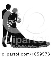 Royalty Free Vector Clip Art Illustration Of A Black And White Silhouetted Wedding Couple Gazing