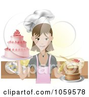 Royalty Free Vector Clip Art Illustration Of A Young Female Chef Holding Two Cakes
