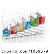 Royalty Free CGI Clip Art Illustration Of A 3d SERCH With Arrows In A Bar Graph