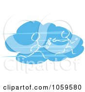 Royalty Free Clip Art Illustration Of Two Stick People Running In A Baton Race On A Blue Cloud by MacX