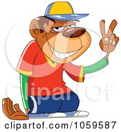Royalty Free Vector Clip Art Illustration Of A Monkey Dude Gesturing Peace by yayayoyo