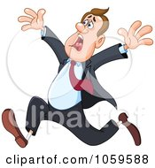Royalty Free Vector Clip Art Illustration Of A Stressed Businessman Running by yayayoyo