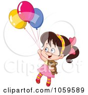 Royalty Free Vector Clip Art Illustration Of A Girl Floating Away With Her Teddy Bear And Balloons