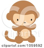 Royalty Free Vector Clip Art Illustration Of A Cute Baby Monkey by peachidesigns #COLLC1059592-0137