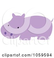 Royalty Free Vector Clip Art Illustration Of A Cute Purple Hippo