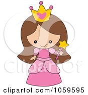 Cartoon of a Cute Brunette Princess Girl from the Belly up ...
