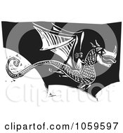 Royalty Free Vector Clip Art Illustration Of A Black And White Woodcut Styled Dragon In Flight