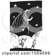 Royalty Free Vector Clip Art Illustration Of A Black And White Woodcut Styled Couple Catching The Moon With A Net