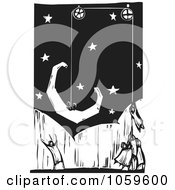 Royalty Free Vector Clip Art Illustration Of A Black And White Woodcut Styled Team Hoisting A Crescent Moon Into The Sky
