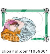 Royalty-Free Vector Clip Art Illustration of an Art Deco Victorian Woman Frame by pauloribau