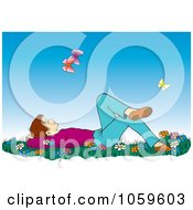 Royalty Free Vector Clip Art Illustration Of A Boy Laying In Grass And Wildflowers And Gazing At Butterflies by pauloribau