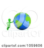 Royalty Free CGI Clip Art Illustration Of A 3d Green Guy Leaning Against A Globe