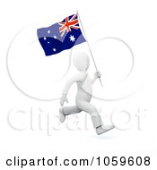Royalty Free CGI Clip Art Illustration Of A 3d White Person Running With An Australian Flag
