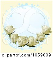 Royalty Free Vector Clip Art Illustration Of A Blue Circle With Ivory Roses On Cream by elaineitalia