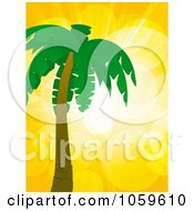 Royalty Free Vector Clip Art Illustration Of A Palm Tree Against A Yellow Flare Sky