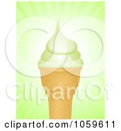 Royalty Free Vector Clip Art Illustration Of A Pistachio Ice Cream Cone Over Green Rays by elaineitalia