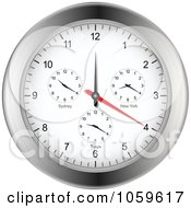 Royalty Free Vector Clip Art Illustration Of A Silver Wall Clock With Different Time Zones by elaineitalia