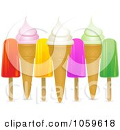 Royalty Free Vector Clip Art Illustration Of Popsicles And Ice Cream Cones